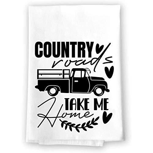 Farmhouse Rustic Kitchen Bathroom Decor   Country Roads Take Me Home   Decorative Microfiber Velour Cloth Fabric Hand…