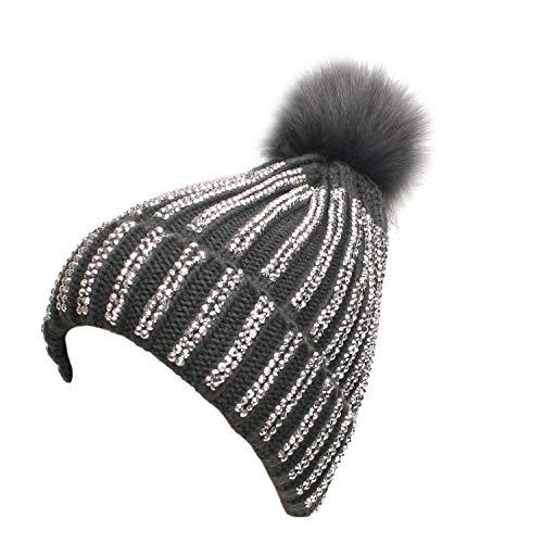Sparkly Silver Studded Striped Winter Beanie, Cozy with Fur Pom Pom in Gray