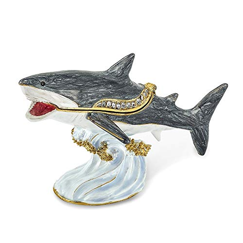 Jere Luxury Giftware Bejeweled Ace Great White Shark, Pewter with Enamel Collectible Trinket Box with Matching Pendant Necklace