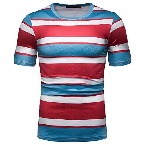 YAYUMI Men's Fashion Short Sleeve Stripe Painting Large Size Casual Top Blouse Shorts Red ()