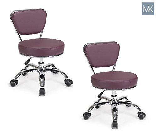 Set of 2 Dayton Pedicure Stool (Burgundy) Pneumatic, Adjustable Height, Perfect for Nail Salon, Pedicure spa