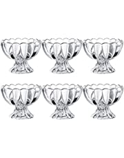 KMwares 6PCs Set 5.6oz Small Cute Footed Tulip Clear Glass Dessert Bowls/Cups - Perfect for Dessert, Sundae, Ice Cream, Fruit, Salad, Snack, Cocktail, Condiment, Trifle and Birthday Party