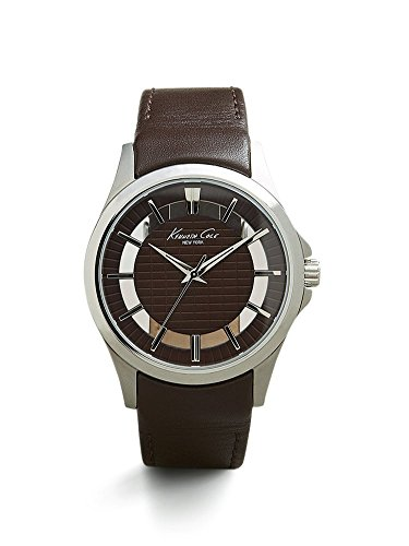 Kenneth-Cole-New-York-Mens-Transparency-Quartz-Stainless-Steel-and-Brown-Leather-Dress-Watch-Model-10022289