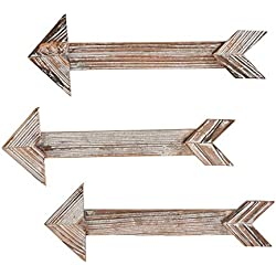 Juvale Hanging Wood Arrow Plaque - 3-Pack Barnwood Arrow Wall Decor, Directional Sign, Rustic Arrow Sign, Decorative Sign, for Home, Office, Party, Wedding Decoration, 17 x 5.8 x 0.3 Inches