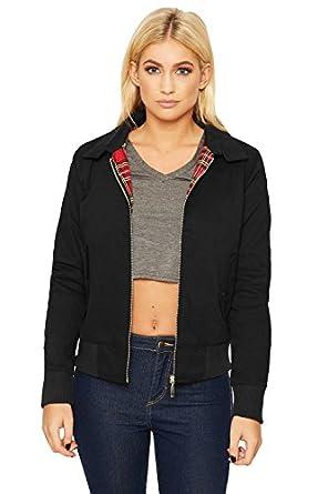 WEARALL® Women's Retro Inside Tartan Lined Harrington Long Sleeve ...