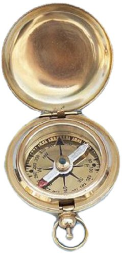 Hampton Nautical  Scout's Solid Brass Push Button Compass, 2