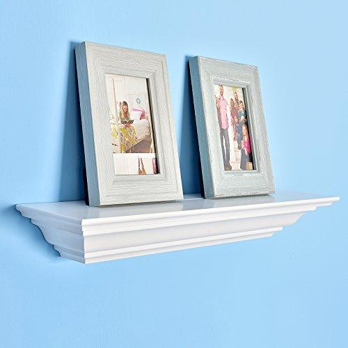 WELLAND Corona Crown Molding Floating Wall Photo Ledge Shelves Fireplace Mantel Shelf(18-Inch, White)