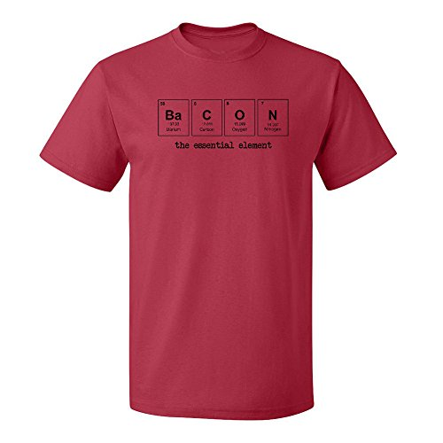 Mashed Clothing Bacon The Essential Element Periodic Table Adult T-Shirt (Red, XL)