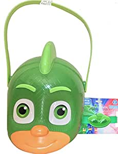Pj Masks Gekko Trick o Treat Candy Bucket With Pj Masks Novelty Light Up Bracelet