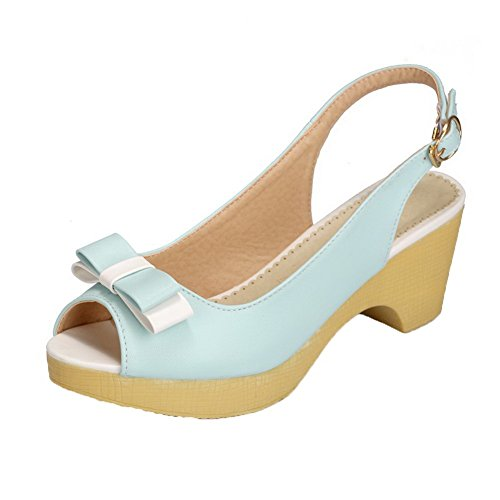 AalarDom Womens Buckle Open-Toe Kitten-Heels PU Solid Sandals Blue