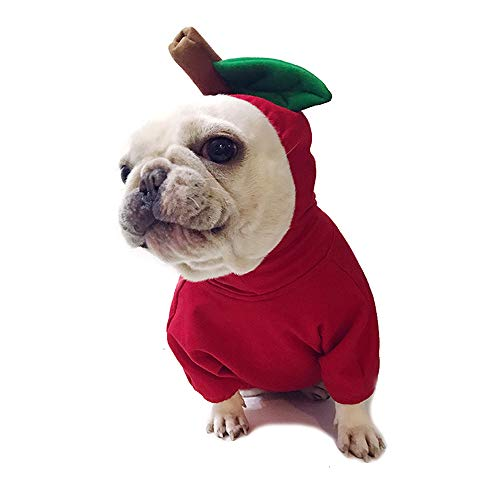 Amakunft Apple Pet Costume, Christmas Dog Hoodie for Pitbull Halloween Fruit Cosplay Coat for Party Special Events Costume Puppy Jumpsuit Cat Jacket Clothes ()