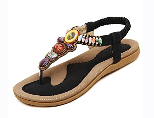 Cuentas De Las Black Zapatos Gran Tamaño 44 Los 42 Planos Sandalias wRIxwCHq
