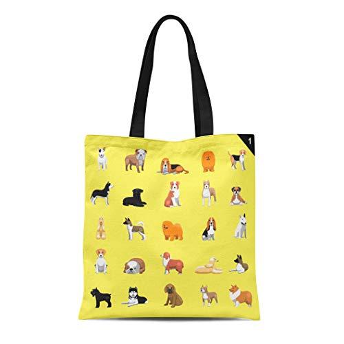 Semtomn Canvas Tote Bag Afghan Various Dog Breeds Hound Akita Animal Australian Shepherd Durable Reusable Shopping Shoulder Grocery Bag