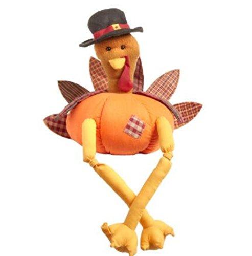 Holiday Plush Pumpkin Turkey Pilgrim Centerpiece Sitter 12