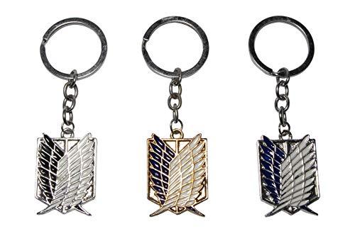 Attack On Titan Scouting Legion Emblem Alloy Key Chain/keychain, Black,Blue,Gold,3 pack
