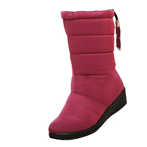 Gaorui Winter Women Waterproof Tassel Snowboots Joggers Quilted Outdoor Warm Fur Shoes Red 338MQr