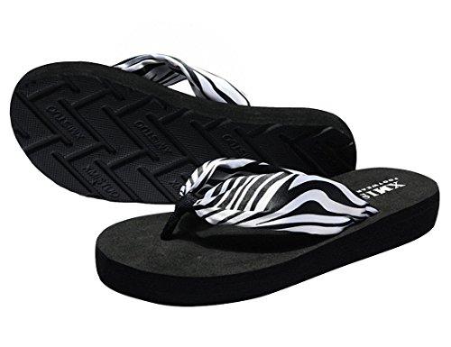Zebra Flip Flop Sandals - Women Thong Flip-Flops Floral Summer Satin Sandals (US 7, Zebra-Strap)