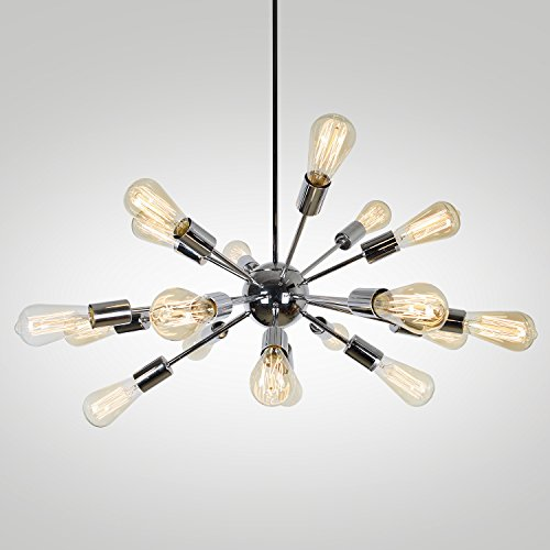 EdiMoM Brand; Satellite Metal 35.4-in 18-Light Brushed nickle Tiered Chandelier For Sale