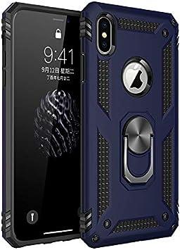 BestST Funda iPhone XS MAX con Anillo Soporte, con HD Protector de Pantalla, Robusta Carcasa Híbrida TPU + PC de Doble Capa Anti-arañazos Caso para Apple iPhone XS MAX,-Azul: Amazon.es: Electrónica