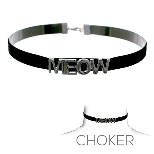 Women's Kitty Cat Costume Meow Choker Black -