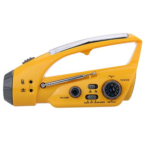 (Solar Flashlight Radio Portable Emergency Hand Crank Self Powered AM/FM Radio Cellphone Charger with LED Flashlight Blink and Siren)