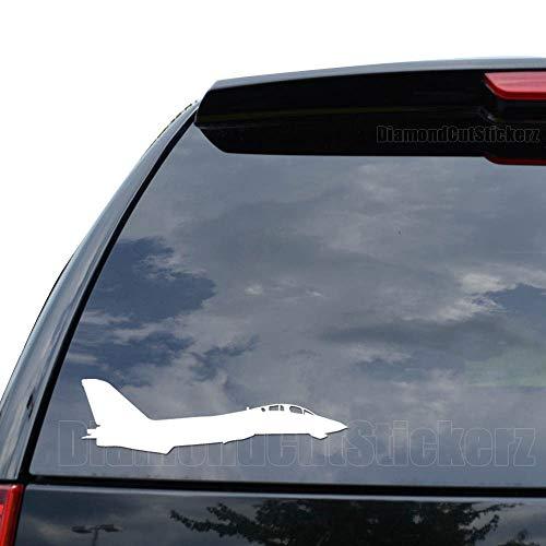 (F-14 Tomcat Fighter Jet Plane Grumman Decal Sticker Car Truck Motorcycle Window Ipad Laptop Wall Decor - Size (07 inch / 18 cm Wide) - Color (Matte White))