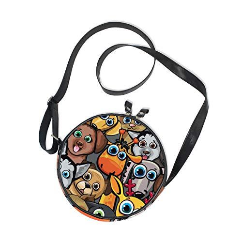 WellLee Animal Dogs Cat Deer Giraffe Round Crossbody Bag Purse Messenger Bag