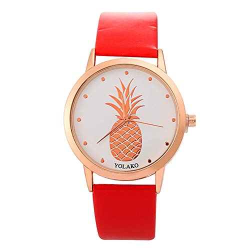 Ladies Watch, Women Pineapple No Number Round Dial Faux Leather Band Analog Quartz Wrist Watch by Gaweb (Image #9)