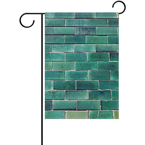 Johnnie Portugal Green Glazed Bricks Welcome Garden Flag 12 X 18 Inches, Double Sided Seasonal Outdoor Flag and Best for Party Yard Home Decor -
