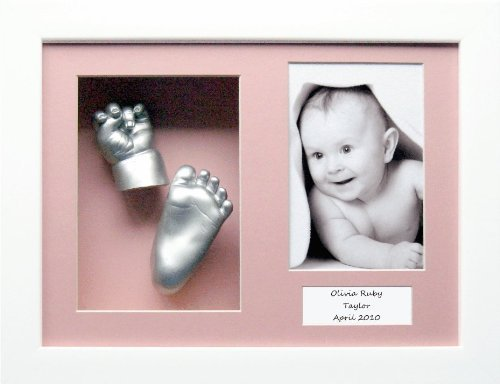 Baby Casting Kit with 11.5x8.5'' White Box Display Frame, Pink 3 space mount, Silver paint by BabyRice by Anika-Baby