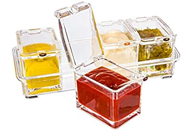 Boxing Week Sale - Best Acrylic Condiment Tray, Excellent Gift, 4 Removable Pots with Separate Lids and Spoons. Ice Chamber. Condiments, Candy, Nuts, Fruit, Seasoning And Spice Rack Compartments Dish