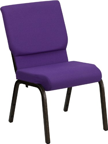 Flash Furniture HERCULES Series 18.5''W Purple Fabric Stacking Church Chair-Gold Vein Frame