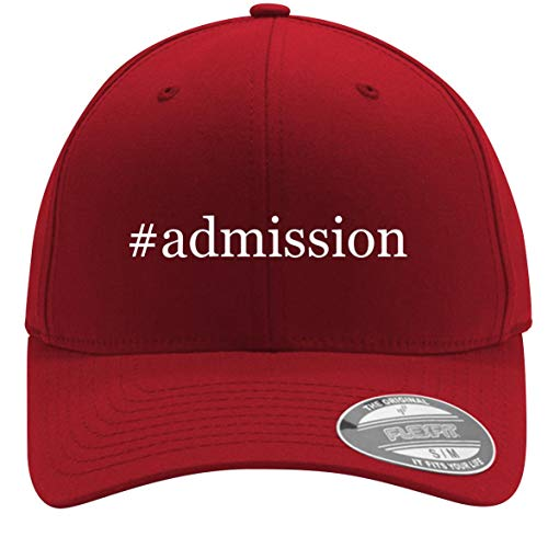 #Admission - Adult Men's Hashtag Flexfit Baseball Hat Cap, Red, Small/Medium