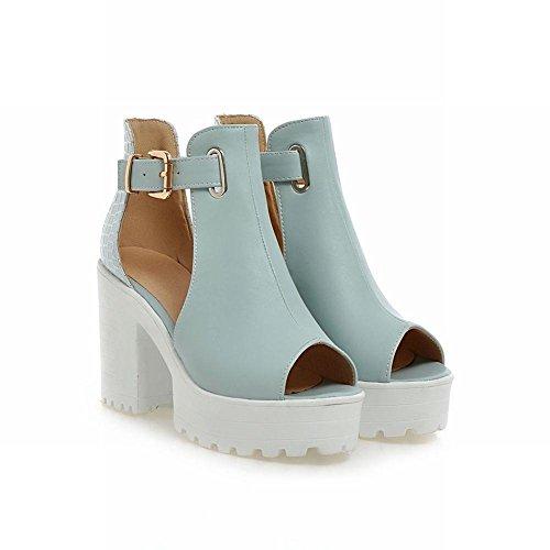 süß Absatz Schnalle dicker Mee Damen Peep Shoes Sandalen Blau toe wCwEqfO
