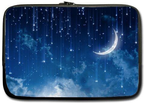 Mejor elegante luna estrellas 15.6 inch Laptop/Ordenador portátil Manga Bolsa Bolsa Caso (doble