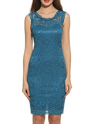 Buy light blue and black lace dress - 2