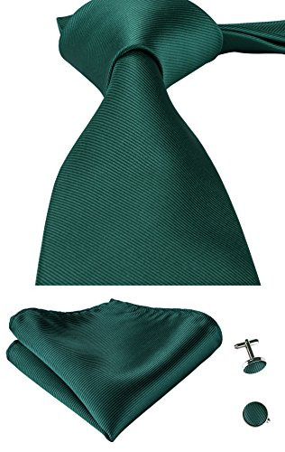 Hi-Tie Mens Solid Color Tie Handkerchief Cufflinks set Woven silk Wedding Tie (Dark Green)
