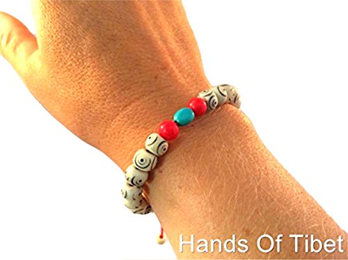 Yak Bone Wrist Mala Bracelet with Turquoise and Coral Spacers ()