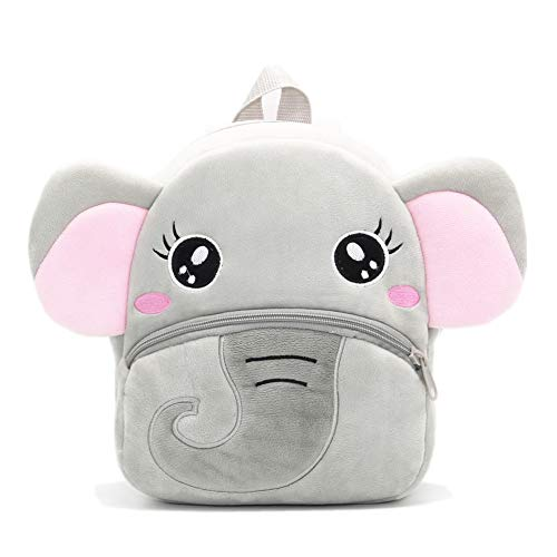 Nice Choice Cute Toddler Backpack Toddler Bag Plush Animal Cartoon Mini Travel Bag for Baby Girl Boy 1-6 Years (Grey Elephant)