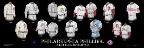 (Framed Evolution History Philadelphia Phillies Uniforms Print)
