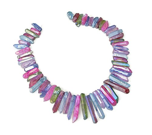 Multi-Colored Titanium Quartz Crystal Points. Excellent Gemstones for Jewelry Making. Rough Raw Quartz Jewelry Stones. Full Strand - 20mm - 40+mm