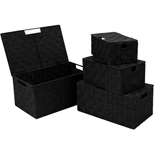 KEDSUM Woven Storage Baskets Boxes Bins, Storage Baskets with Lids Storage Cube Bins Closet Storage Baskets, Woven Organizer Baskets Built-in Carry Handles (Black Set of 4) (With Wicker Baskets Lid Storage)