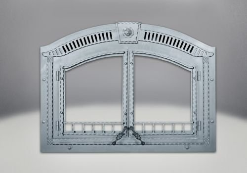 Arched Faceplate Complete with Upper Grill and Keystone - Wrought Iron