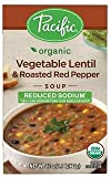 Pacififc Foods, Organic Reduced Sodium Vegetable Lentil & Roasted Red Pepper Soup (Pack of 2)