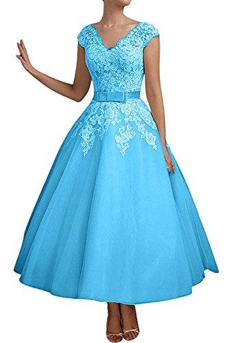 Abendkleider Blau A Navy Kurzes Damen Blau Braut Spitze La mia Jugendweihe Linie Kleider Brautmutterkleider IP1qAgx0