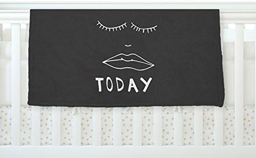 KESS InHouse Vasare Nar Lazy Today White Typography Fleece Baby Blanket 40 x 30