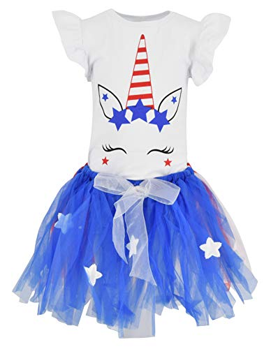 Unique Baby Girls 4th of July Unicorn 2 Piece Outfit with Tutu (2T/XS, Blue)