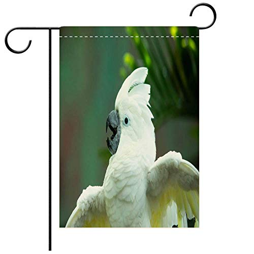 BEICICI Garden Flag Double-Sided Printing, Animated White Cockatoo Putting on a Show Decorative Deck, Patio, Porch, Balcony Backyard, Garden or Lawn