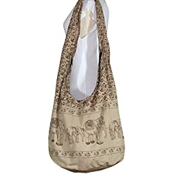 Hippie Elephant Sling Crossbody Bag Purse Thai Top Zip Handmade New Color Light Brown Shipping from Thailand