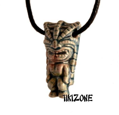 Ceramic Raku Angry Tiki Head Necklace - Parrothead (Free Island Tiki Bar)